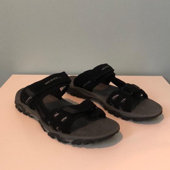 759e77026 Merrell Shoes | Mens Sandals Black Suede Mesh Size 12 | Poshmark